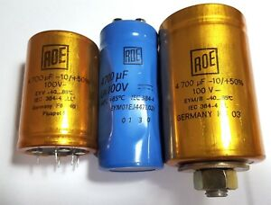 Roederstein 100v 4700uf Electrolytic Capacitor Audio Tone Roe Gold