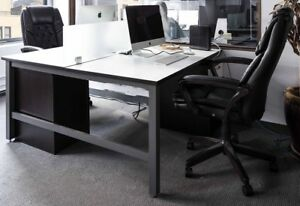 6 Modern Office Desks W Glass Dividers 6 Rolling Personal Cabinets