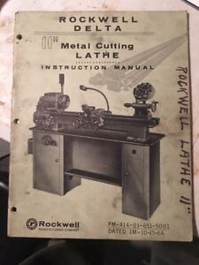 Original Delta Rockwell 11 Metal Cutting Lathes Instruction Manual 1964