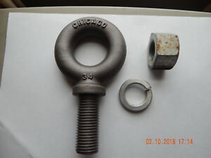 Shoulder Eye Bolt 1 1 2 6 Thread New W Nos Lock Washer Nut