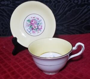 Clare Tea Cup And Saucer Bone China Made In Englan Yellow With Flowers