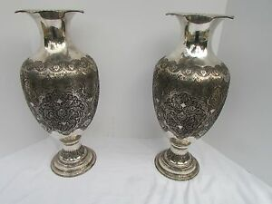 Museum Antique Islamic Qajar Indo Persian Silver Vase 84 Marked