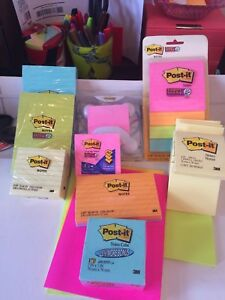 Post It Notes Lot Assorted 4x6 3x3 3x5 8x3 dispenser 3500 Sheets