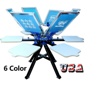 Techtongda 6 Color 6 Station Screen Printing Press Machine Doulbe Rotary Pritne