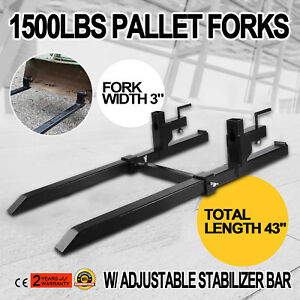 Clamp On Pallet Forks W Adjustable Stabilizer Bar 1500lbs Capacity