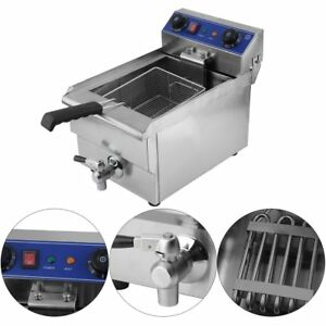 1 65kw Electric Countertop Deep Fryer Single Tank Commercial Restaurant 13l Bt