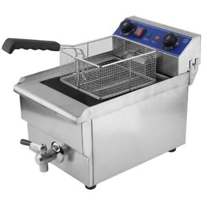 Commercial Restaurant Electric 13l Deep Fryer Stainless Steel Timer Drain Bt