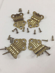 Antique Vintage Frantz Brass Ornamental Hinges 4 Pc Vintage New