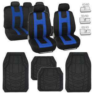 Car Seat Cover Rome Sport Racing Style Black blue Strong Rubber Floor Mat 13pc