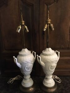 Pair 20th Century Wedgwood Style Porcelain Lamps Cameo Medallion French Empire