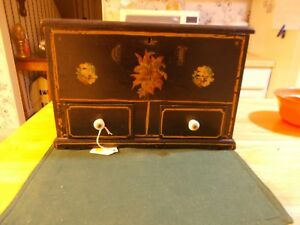Wonderful Dated And Signed Sewing Box In Original Paint With Decals Spool Holder