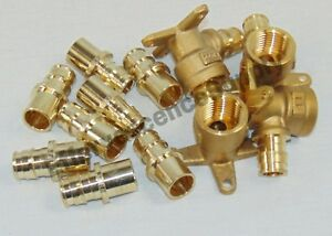lot Of 12 1 2 Propex Brass Fittings Adapter drop Ear Elbows Pex Expansion