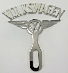 Volkswagen Emblem License Plate Topper Vintage Style Chrome Stainless Steel Vw