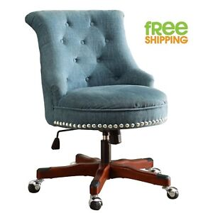 Blue Upholstered Office Chair Walnut Wood Work Space Button Tufted Swivels New