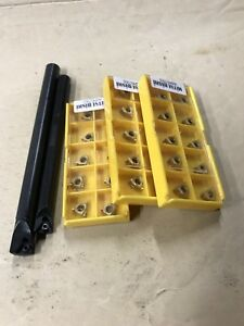 New 3 8 1 2 Threading Boring Bar Set W 30 11ir ag60 Carbide Inserts Sale