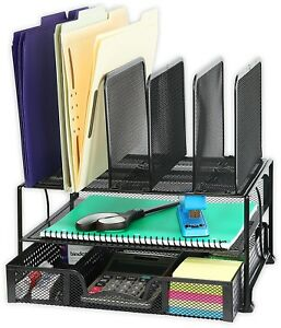 Simplehouseware Mesh Desk Organizer With Sliding Drawer Double Tray And 5 Uprig