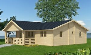 44ft X 29ft 1204sq Ft 7 Room Diy Log Cabin Home Kit With 118sq Ft Covered Porch