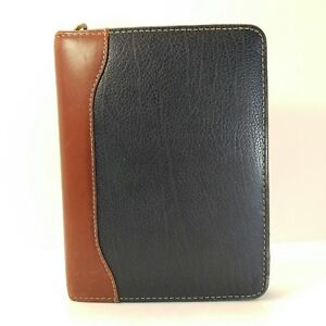 Franklin Quest Leather Blue Brown Compact Planner Binder 6 Ring1 25 6 5 X 8 5