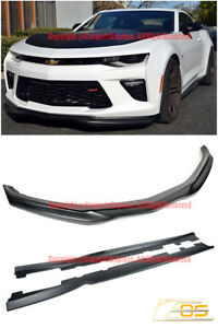 For 16 Up Camaro Ss T6 Style Front Bumper Lower Splitter Side Skirts Panel Lip