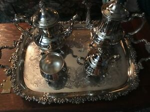 Sheffield International Silver Plated Tea Coffee Sugar Bowl Butler Tray