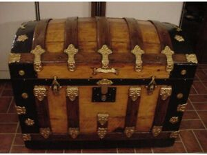 Ladycomet Refinished Beautiful Dome Top Steamer Trunk Antique Chest W Key