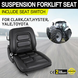 Universal Vinyl Forklift Suspension Seat Fit Clark Hyster Toyota Set Yale Easy