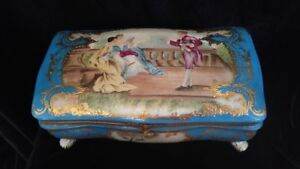 Antique Turquoise Sevres Style Porcelain Jewelry Box Painted Scene Vintage