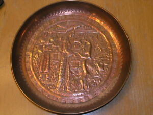 Antique Persian Copper Repousse Wall Hanger Plate Men Winged Hornedanimal 8 3 4