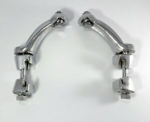 Pair Vintage Style Chrome Fog Light Brackets lamp Clamp On Bumper Mounting New