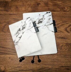 A5 A6 Size Hobonichi Planner Cover Faux Leather Marble Print Unbranded
