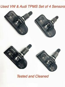 Complete Set Of 4 Used Tpms Audi Vw Tire Pressure Sensors 1k0907255c