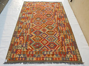 Old Traditional Hand Made Turkish Colourful Wool Kilim 303x200cm 167