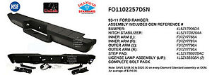 Replacement Step Bumper Assembly For 1998 2011 Ford Ranger rear Fo1102257dsn