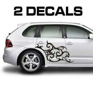 Tribal Scroll Car Door Stickers Fender Decals x2 Jdm Import Euro