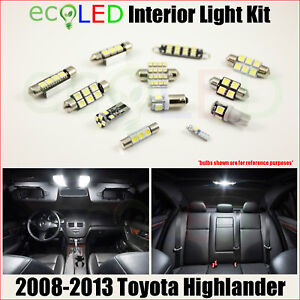 Fits 2008 2013 Toyota Highlander White Led Interior Light Accessories Kit 12 Pcs