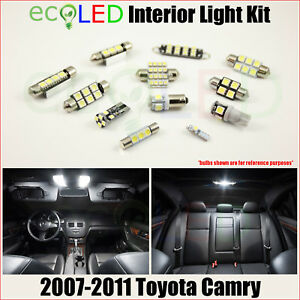 Fits 2007 2011 Toyota Camry White Led Interior Light Accessories Package Kit 8pc