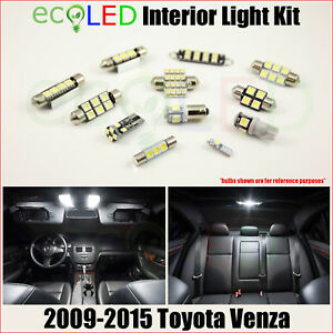 Fits 2009 2015 Toyota Venza White Led Interior Light Accessories Kit 12 Bulbs