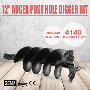 12 Auger Post Hole Digger Bit Skid Steer Attachment Durable Strong Steel Pro