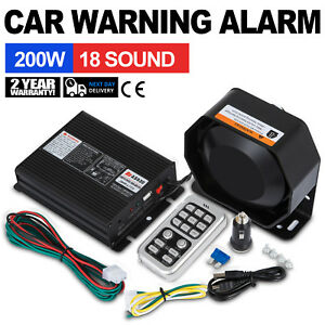 On 200w 18 Sound Loud Car Warning Alarm Police Fire Siren Pa Mic System Led Free