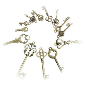 13 Vintage Old Look Skeleton Keys Lot Bronze Tone Jewelry Beauty