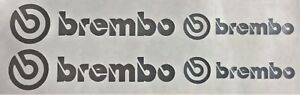 4 Brembo Decals Stickers Vinyl Caliper Brake Metallic Silver Heat Resistant