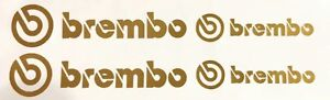 4 Brembo Decals Stickers Vinyl Caliper Brake Metallic Gold Heat Resistant