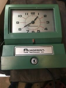 Acroprint Time Recorder Clock 125er3 No Key