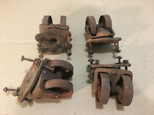 Antique Cast Iron Double Wheel Floor Casters Industrial Steampunk Set Of 4