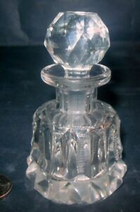Antique Cut Glass Perfume Bottle Long Dauber Vanity