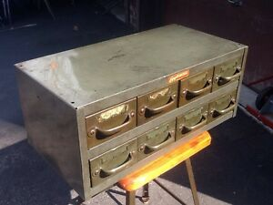 Vtg Industrial Equipto Co Green Metal 8 Drawer File Storage Cabinet very Good