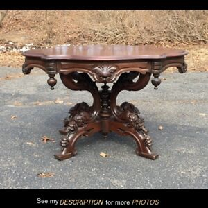 Antique Large Victorian 1860 70 Black Walnut Turtle Top Parlor Table 43 X 31