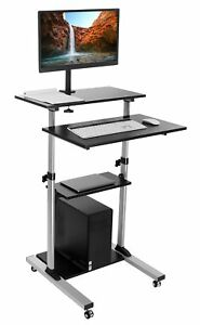 Mount it Mobile Stand Up Desk Height Adjustable Workstation With Monitor Arm