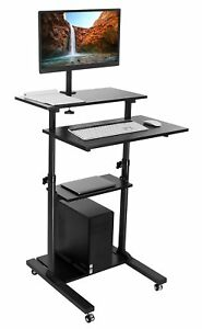 Mount it Mobile Stand Up Desk Height Adjustable Workstation W Monitor Arm Blk