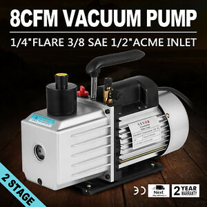 8cfm Two stage Rotary Vane Vacuum Pump 15micron 1hp Oil Reservoir Ac Refrigerant
